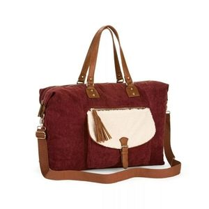 Emery Burgundy Weekender Carry-On Tote Crossbody